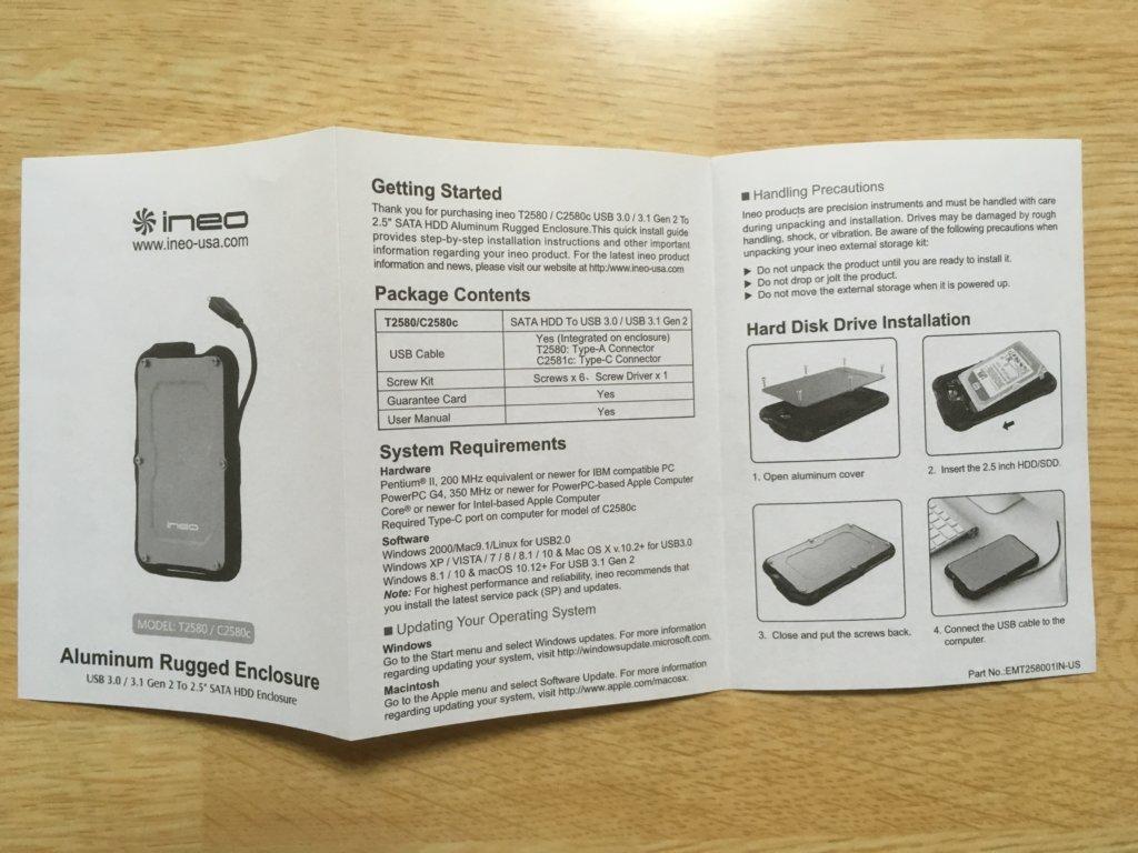 SSDケースの説明書